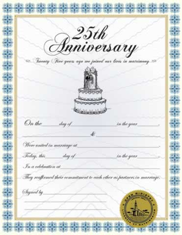 Certificates 25th Anniversary Certificate Minister