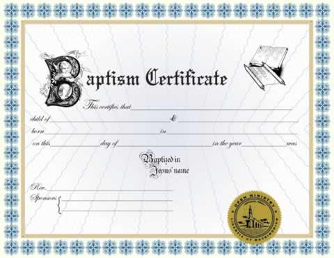 Custom Certificates :: Custom Baptism Certificate II - Minister ...