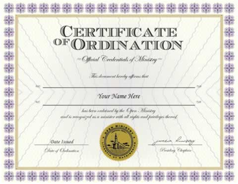 Credentials :: Ordination Credential - Minister Ordainment Supplies