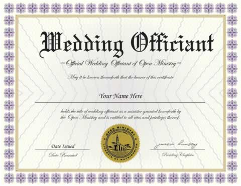 Credentials Wedding Officiant Certificate Minister
