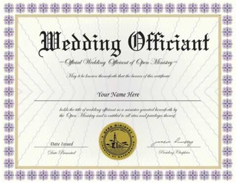 Wedding Officiant Certificate