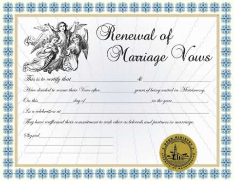Custom Renewal of Vows Certificate