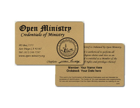 Minister Wallet Card