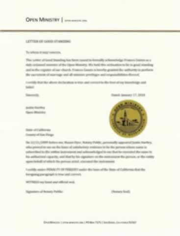 Letter of Goodstanding