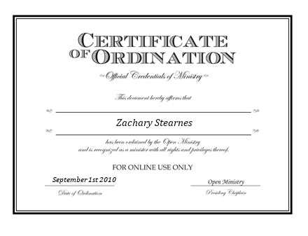 Ordained Minister  Stearnes