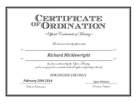 Ordained Minister  Micklewright