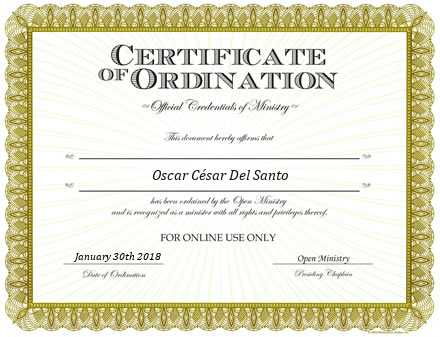 Ordained Minister  Del Santo