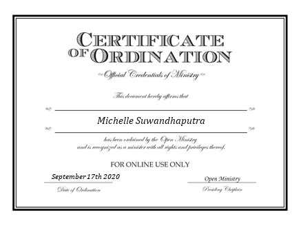 Ordained Minister Michelle Suwandhaputra