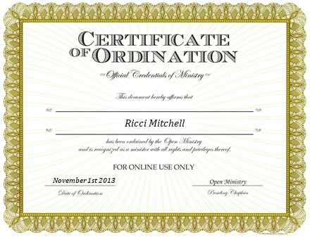 Ordained Minister Ricci Mitchell