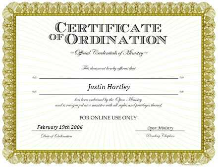 Ordained Minister J. Mitchell