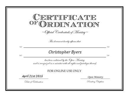 Ordained Minister Christopher Byers